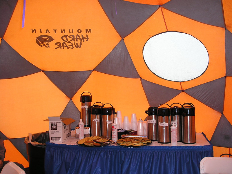 Warming hut in a Mountain Hardwear dome<br /> <br /> Coffee, hot chocolate, and other goodies for the attendees