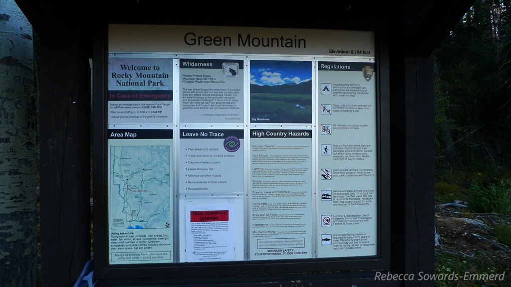 We stayed in Grand Lake, CO Monday night and drove into Rocky Mountain National Park on Tuesday morning. It was early and we hoped for some wildlife. A ranger recommended this trail for possible moose sightings so we took off with our cameras.