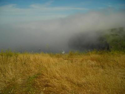 Fog surrounds the island