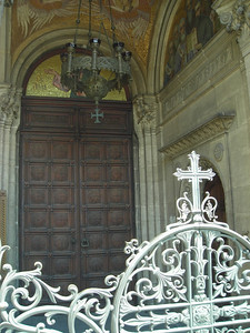 Entry doors and gate