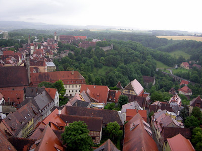 A wet Rothenburg, as seen from the Rathaus tower