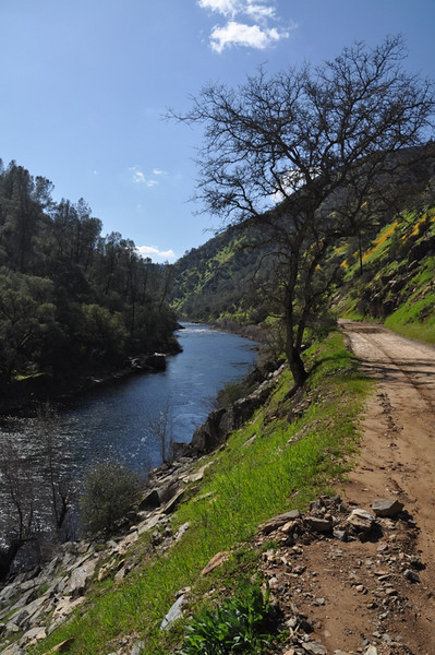 Closed road and Merced River