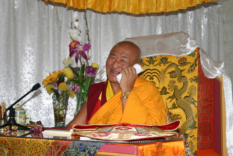 SD-244-120 H.H. Ngawang Tenzin, of Bhutan, singing to Jetsunma Ahkön Lhamo on phone, by Ani Dawa