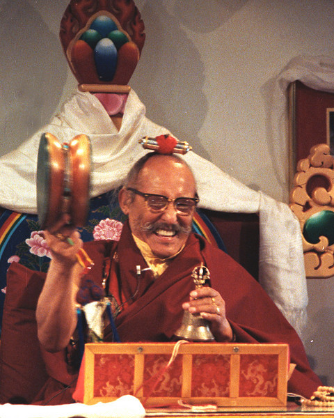 Ngagpa Yeshe Dorje Rinpoche with bell and Chod drum