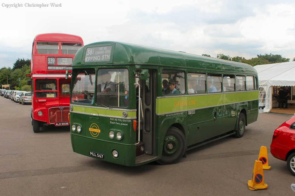 One of the two vintage buses on the shuttle to Epping Underground station