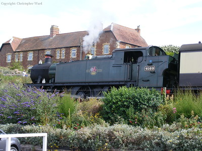 Large Prairie 4160 with a train at Watchet