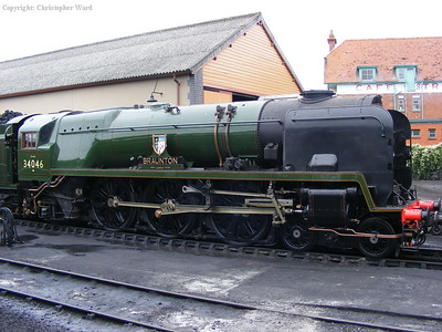 34046 Braunton sees the daylight after being shunted out of the shed