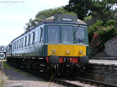 The DMU pulls into Watchet station with a Minehead train