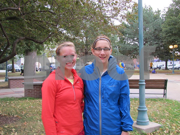 Sam Larson and Kelley Smith-Larson before running in the Applefest 5K/10K