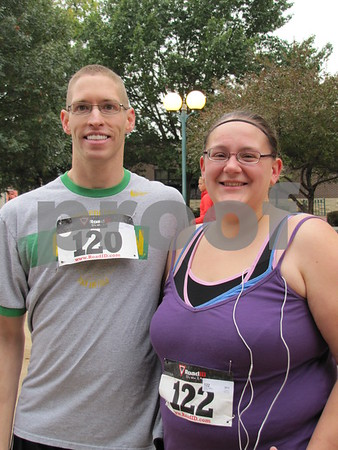 Brent Thompson and Tiffany Vann before the start of the walk/run.