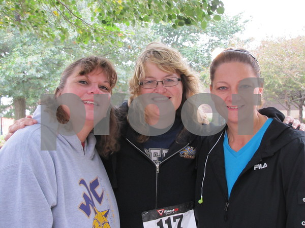 Marna Seiser, Rochelle Sweazey, and Shelley Bair before the run/walk.