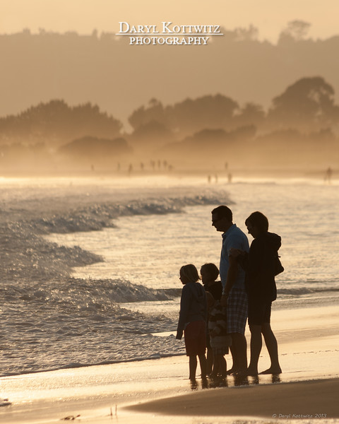Silhouette of a random family on Coronado Island near San Diego.