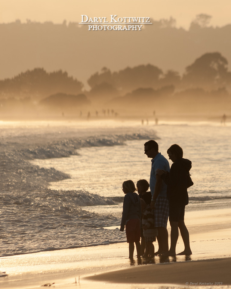 Silhouette of a random family on Coronado Island near San Diego.