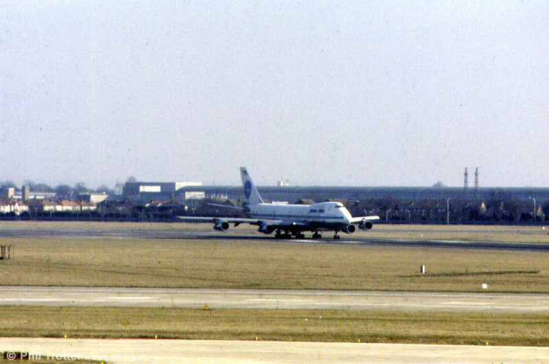 An unidentified Pan Am 'Clipper' Boeing 747 on arrival at Heathrow in April 1986. As a consequence of financial pressures exacerbated by the Lockerbie disaster, Pan Am was wound up in 1991 after 64 years of service.