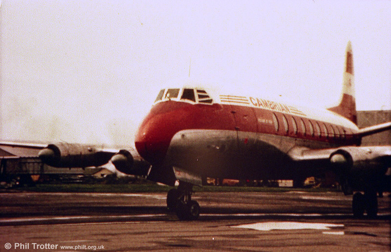 Photographed at Rhoose Airport (nowadays Cardiff International) in the 1960s was this Cambrian Airways Vickers Viscount 701 purchased from BEA. 12 aircraft of this type were purchased from 1963 and they retained this livery until 1968.