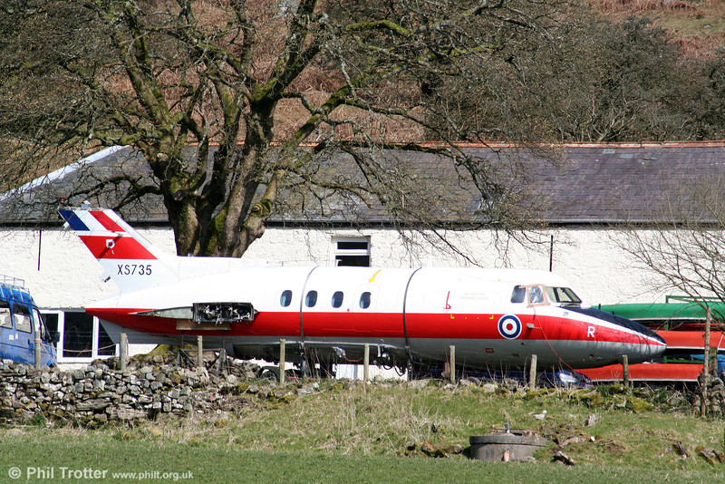 XS 735 is an ex-RAF HS 125 latterly used for training at RAF Sealand and St. Athan but now at an adventure training centre near Penwyllt in the Brecon Beacons. Photographed on 14th April 2006.