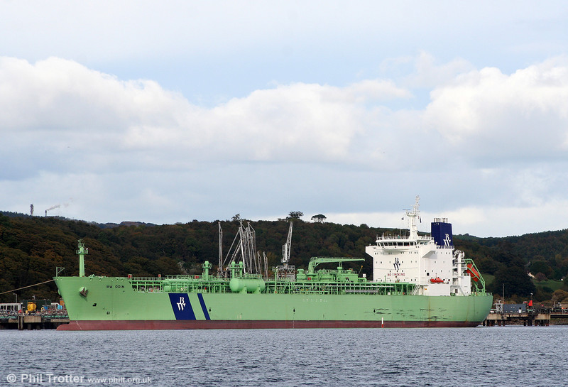 26000 ton LPG tanker BW Odin, registered in Singapore and seen at Braefoot, Firth of Forth on 19th October 2010.