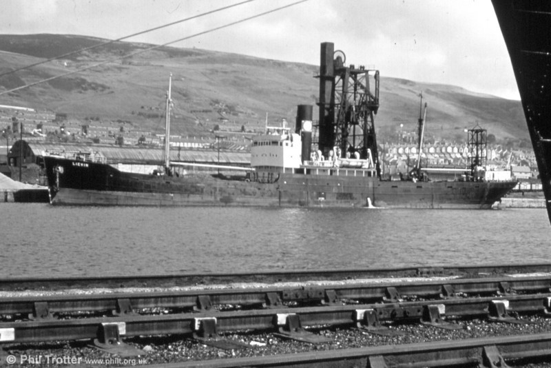 M.V. Lievin alongside one of the coal hoists at Swansea. M.V. Lievin alongside one of the coal hoists in the early 60s. Lloyd's Register of Ships for 1964/5 reveals that the Lievin was a 3 cyl. steamer, of 2622 Gross Net Tonnage, built by At. & Ch. de laLoire in 1947, owned in 1964 by Cie. Maritime et Commerciale du Sud-Ouest and registered at Bordeaux.