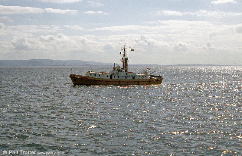 The former Swansea pilot cutter, Seamark, at sea in Swansea Bay during June 1984.