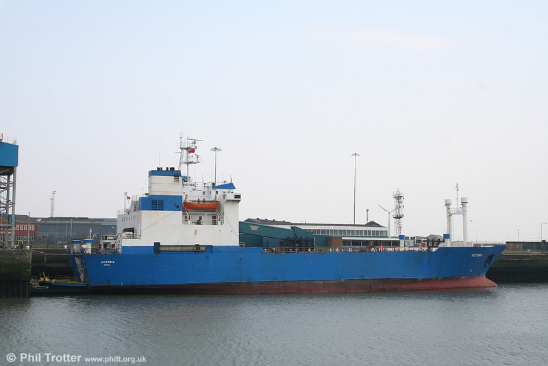 A stern view of HJ Lines ro-ro freight ferry MV Victoria at Swansea on 25th March 2007.