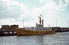 Swansea pilot cutter MV Seamark moored near the entrance to Swansea Docks. Built in 1959, the 34m-long pilot cutter served the Ports of Swansea and Port Talbot until June 2001.