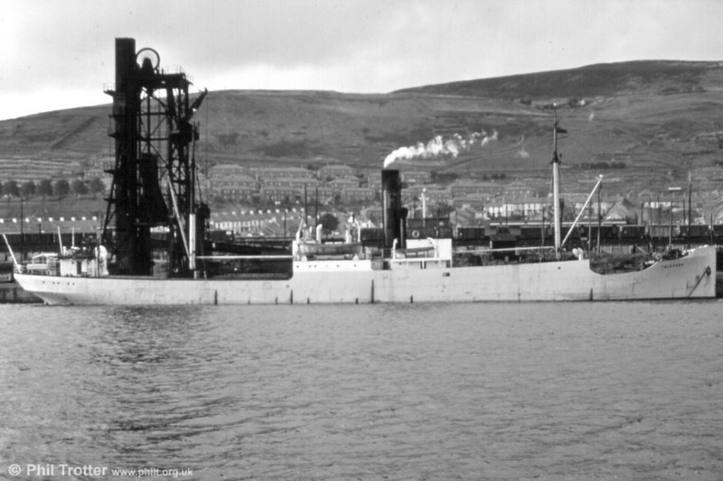 Another unidentified vessel stands at the coal hoists, with the houses of Port Tennant in the background.