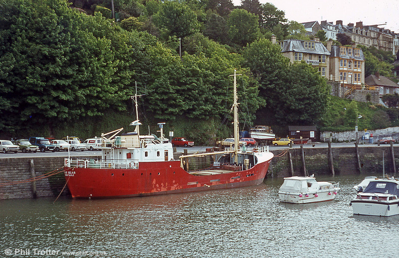 Continuing the much-needed tradition of Lundy Island mailboats, the coaster Polar Bear took over in the 1970s and is seen here tied up at Ilfracombe Harbour.