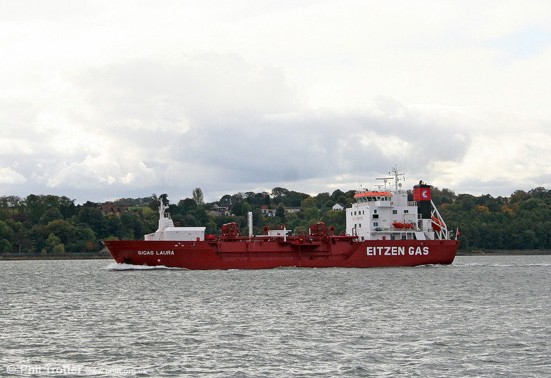 LPG tanker Sigas Laura seen in the Firth of Forth sailing for Antwerp on 19th October 2010.