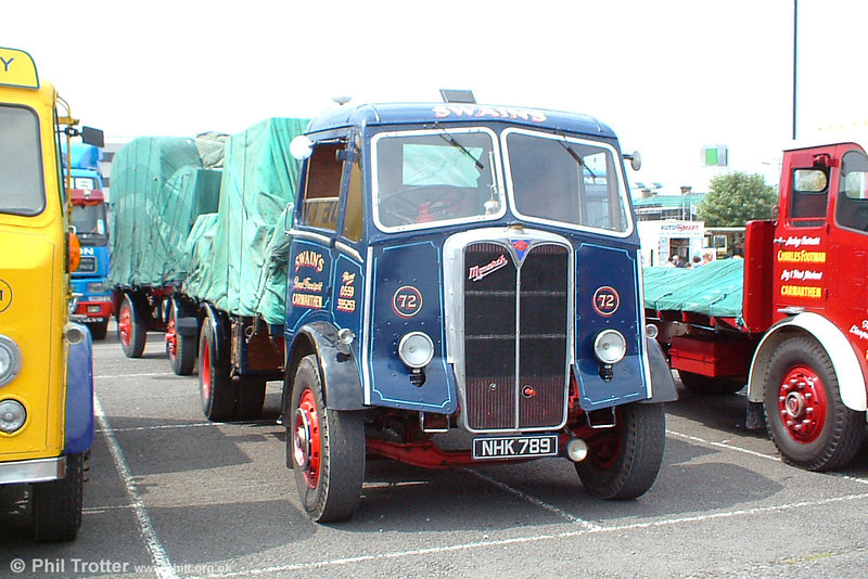 NHK 789 is an AEC Monarch III, preserved complete with trailer and load displaying the livery of Swain's of Carmarthen and seen at Swansea Festival of Transport, 19th June 2005.