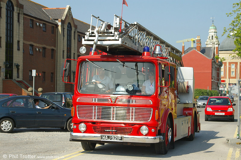 1967 AEC Mercury Merryweather turntable ladder MAJ921F new to North Riding at Swansea on 17th June 2006.