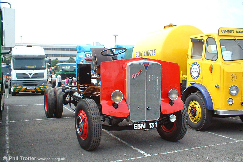 The fully restored and running chassis of EBM 131, an AEC Monarch Mk II now awaits a new body. It was formerly a tipper truck owned by the London Brick Company. Swansea Festival of Transport, 19th June 2005.