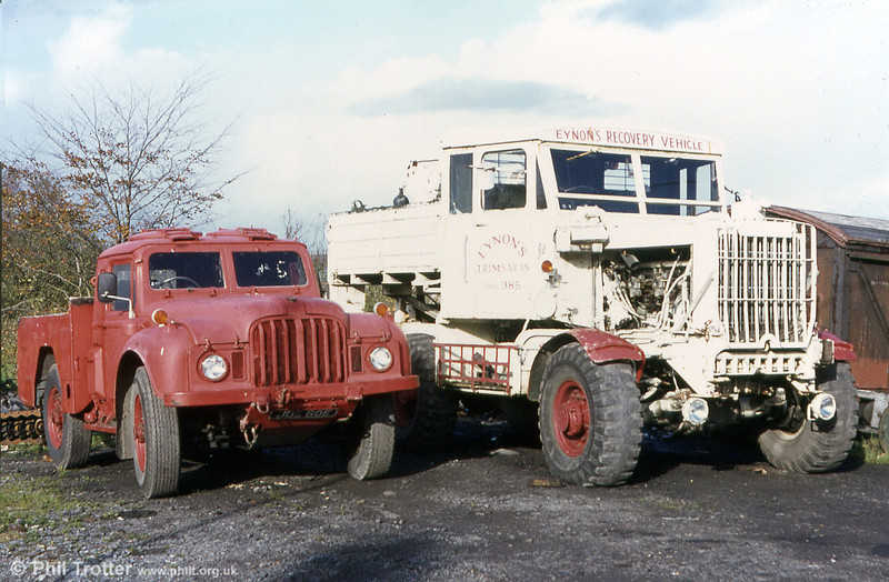 Two recovery vehicles at the premises of the erstwhile bus operator Eynon's of Trimsaran. These are a Humber truck of military origin and a Scammell Pioneer.