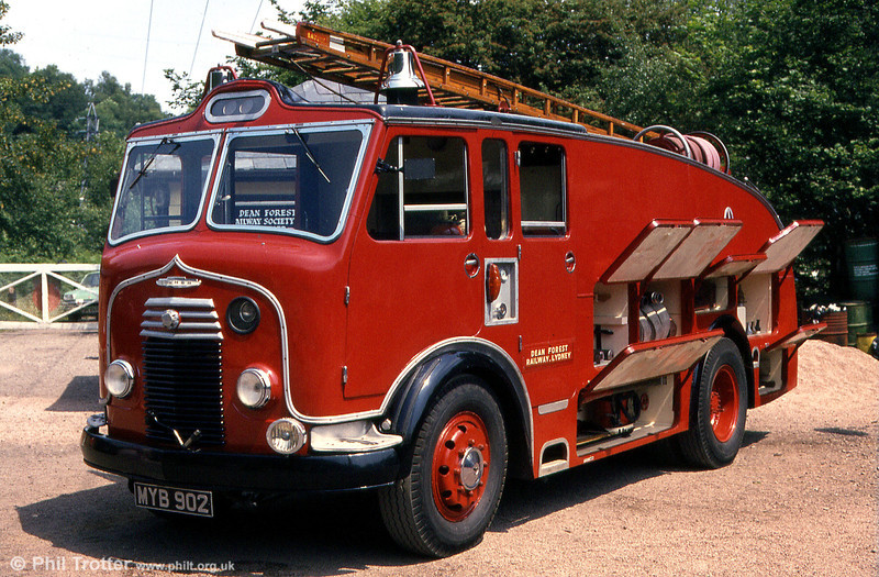 MYB 902 is a 1950 Commer Type A water tender with a Rootes 4752cc petrol engine. It has Whitson bodywork and equipment and was supplied new to Somerset Fire Brigade. Seen at the Dean Forest Railway, Norchard in June 1984.