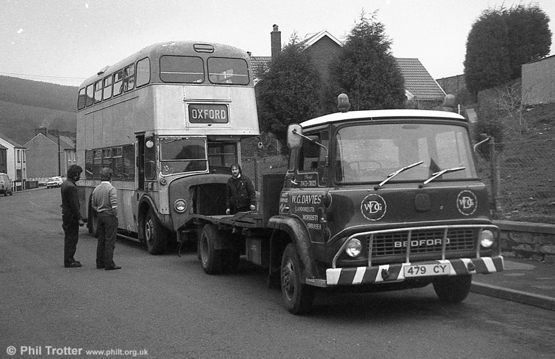 W.G. Davies, Morriston, Swansea had this Bedford TK 479 CY (TP) seen moving preserved SWT AEC Regent V 447 (MCY 407) to a new home.
