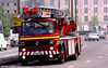 Renault Turntable Ladder B457 BHB on its way to a call in Cardiff in May 1995.
