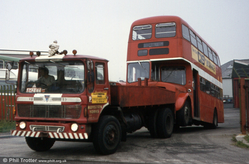 Less lucky was SWT AEC Regent V 854 (437 HCY) seen being towed away from Ravenhill depot for scrap on 29th July 1980.
