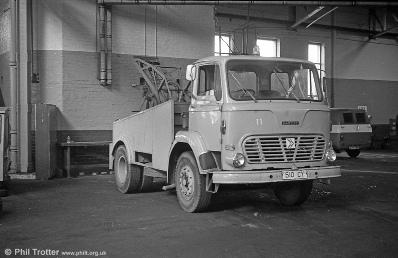 South Wales Transport had this 1975 Leyland Mastiff towing truck as its 11, running on trade plates 510 CY.