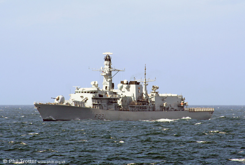 A second shot of Royal Navy Frigate F231 HMS Argyll heading south in the Irish Sea on 31st July 2006.