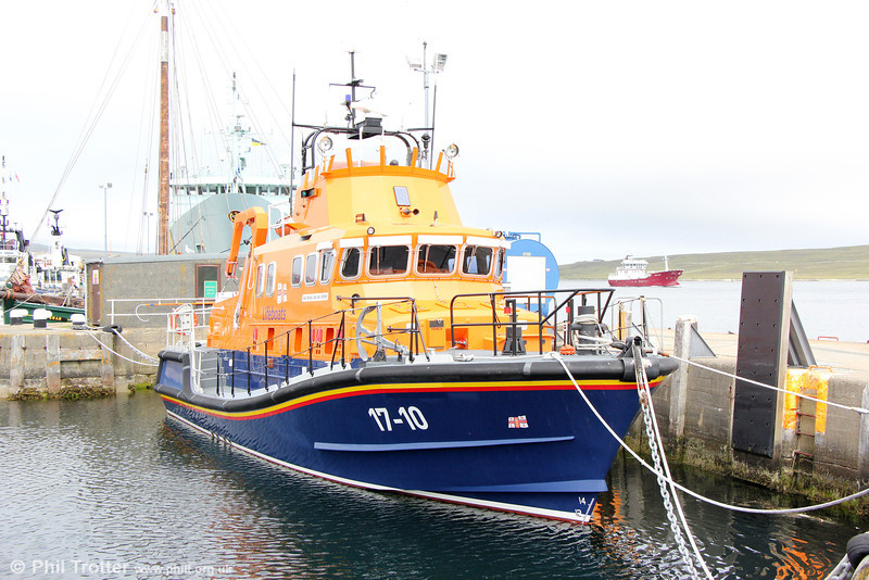 Lerwick lifeboat 17-10 RNLB 'Michael and Jane Vernon' in Lerwick Harbour on 11th July 2013.