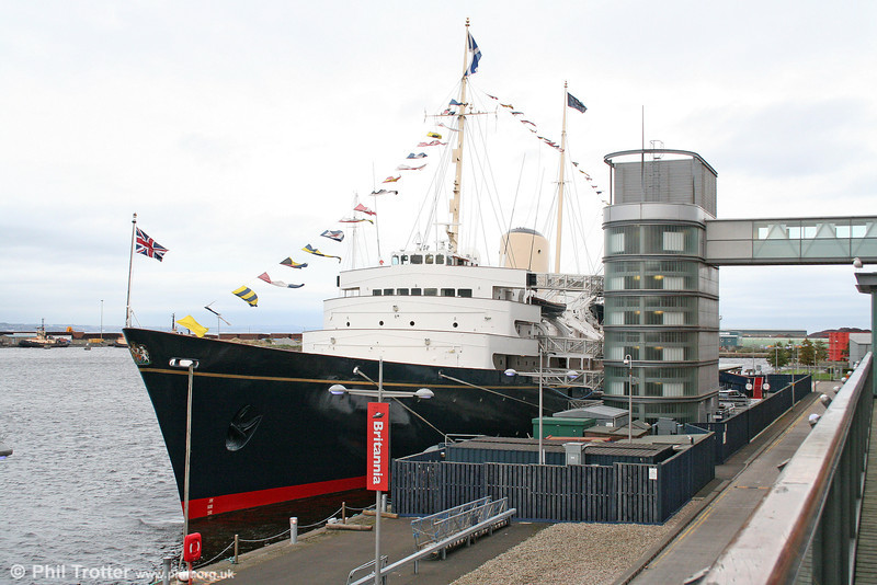 A quayside view of the former Royal Yacht Britannia, 5,769gt, launched in 1953 now moored at Ocean Terminal, Leith and seen on 17th October 2010.