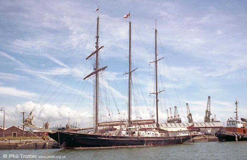 Sail training ship 'Sir Winston Churchill' at Swansea in 1980.