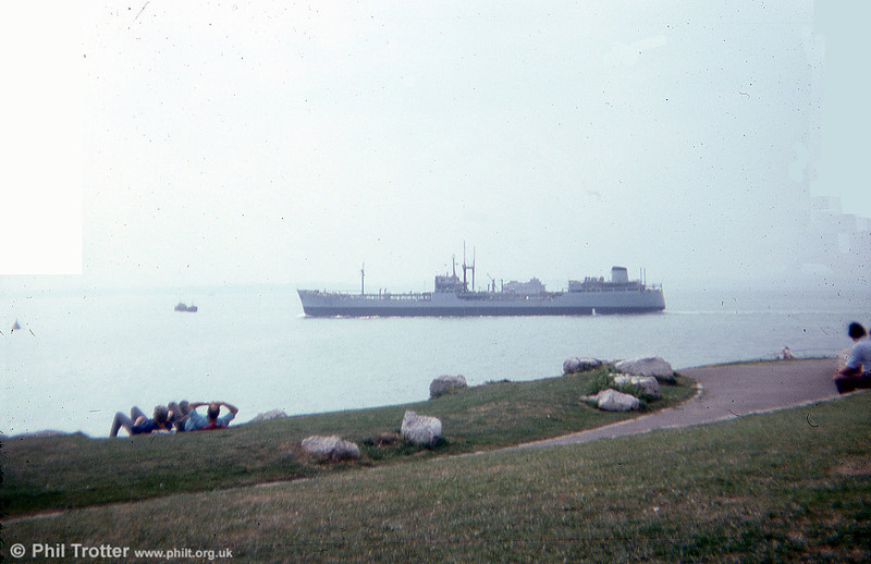 A Royal Fleet Auxiliary vessel pictured in the Solent in 1975.