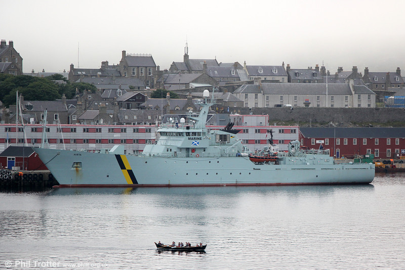 Fishery patrol vessel 'Hirta' tied up in Lerwick Harbour on 11th July 2013.