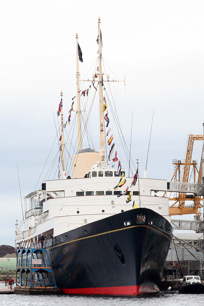 The former Royal Yacht Britannia, 5,769gt, launched in 1953 now moored at Ocean Terminal, Leith and seen on 17th October 2010.
