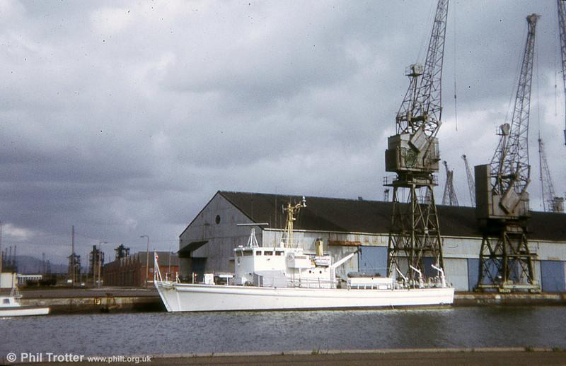 A Royal Navy Inshore Survey vessel at Swansea Docks in 1974.