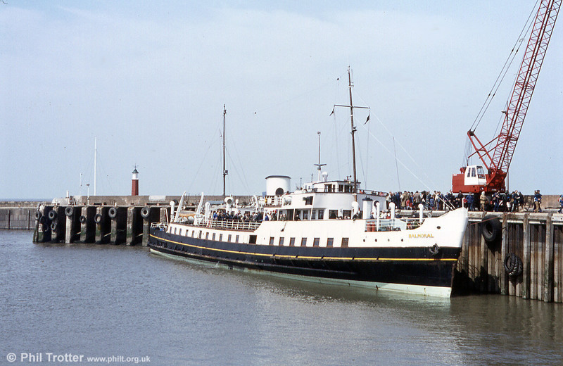 MV Balmoral at Watchet Harbour. When P & A Campbell ceased operation in 1980, Balmoral moved to Dundee to become a floating restaurant. The venture was unsuccessful and gradually the ship fell into disrepair, until she was rescued by the friends and supporters of the Paddle Steamer Waverley. She returned to service in 1986 and operates her main summer season in the Bristol Channel.