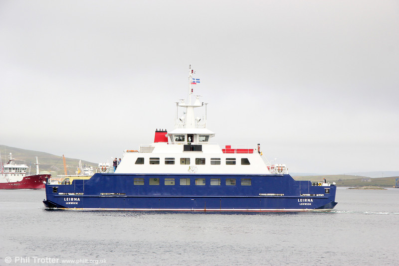 Shetland Islands Council Ferry 'Leirna'. This is the ferry that is used on the Bressay route. It is unusual in having two Voith propulsion units rather than traditional propellors. 11th July 2013.