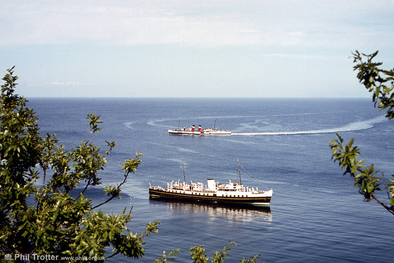 Balmoral anchored off Lundy Island, with the Paddle Steamer Waverley passing with a 'round the island' cruise.
