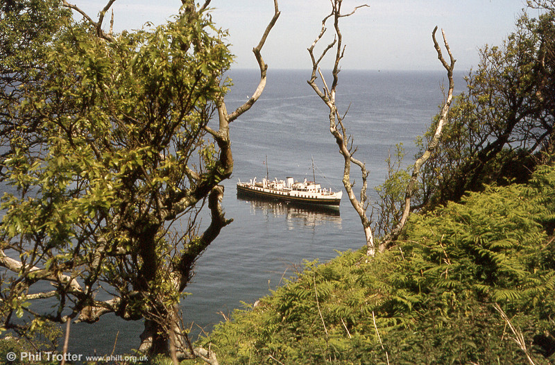 MV Balmoral viewed through the trees from the steep footpath which leads up from the jetty.