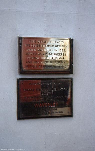 Commemorative plates on PS Waverley.